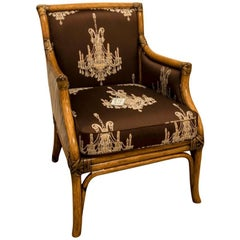 Wicker Armchair Upholstered Fabric, Italy