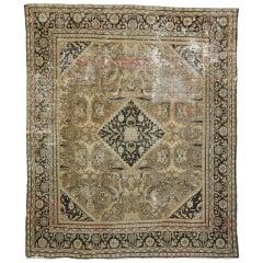 Distressed Antique Persian Mahal Rug
