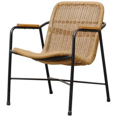 Dirk Van Sliedregt Rattan Lounge Chair with Arm Rests