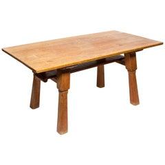Brutalist Oak Table by Cercle Jean Touret for Marolles