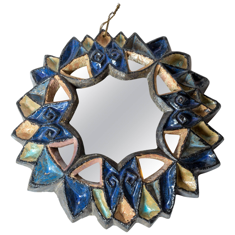 "Les ""Cyclades"" a Uzes Ceramic Mirror by Roland Zobel, France, circa 1960s"