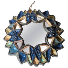 "Les ""Cyclades"" a Uzes Ceramic Mirror by Roland Zobel, France, circa 1960s"