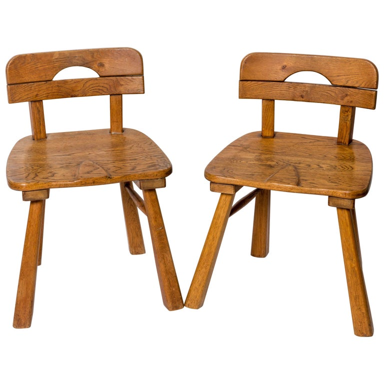 Brutalist Oak Stool with Back by Cercle Jean Touret for Marolles For Sale