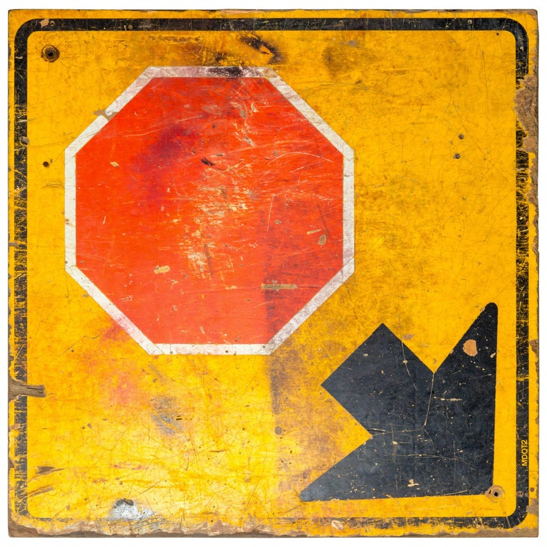 Industrial Wooden Stop Sign For Sale