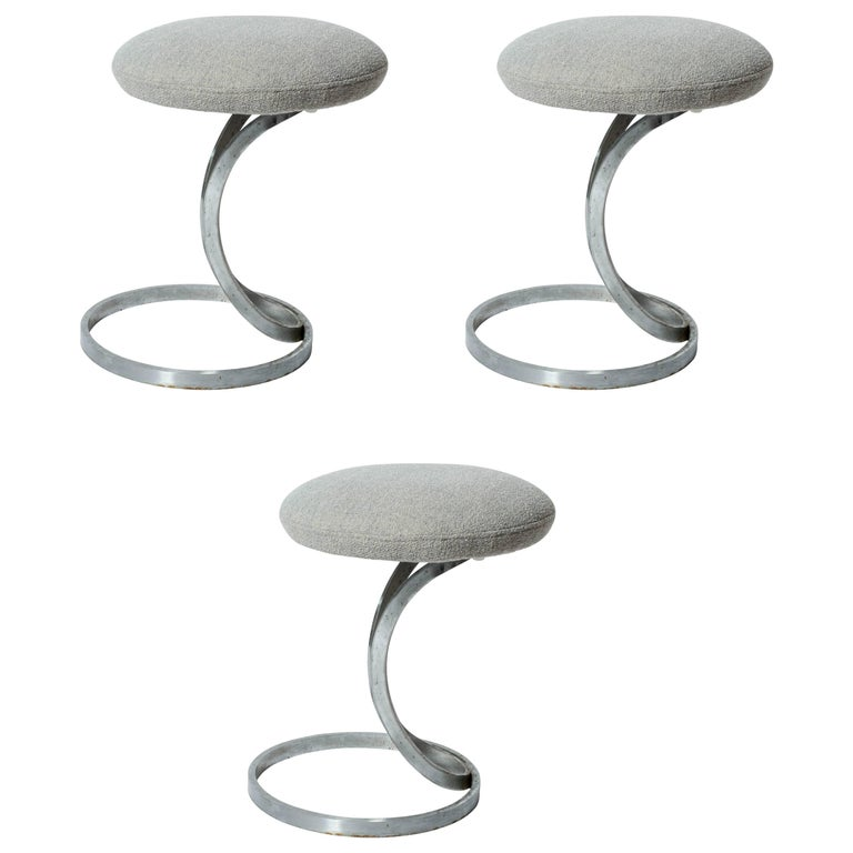 Upholstered Metal Stools by Boris Tabacoff