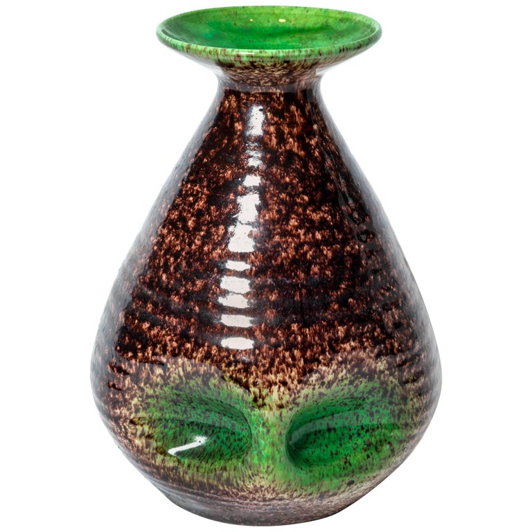 Brown and Green Ceramic Vase by Accolay For Sale