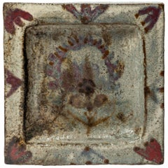 Ceramic Tray with Hand-Painted Floral Motif by Gustave Reynaud