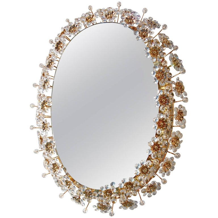 Oval Backlit Mirror with Crystal Flowers by Palwa, circa 1960s