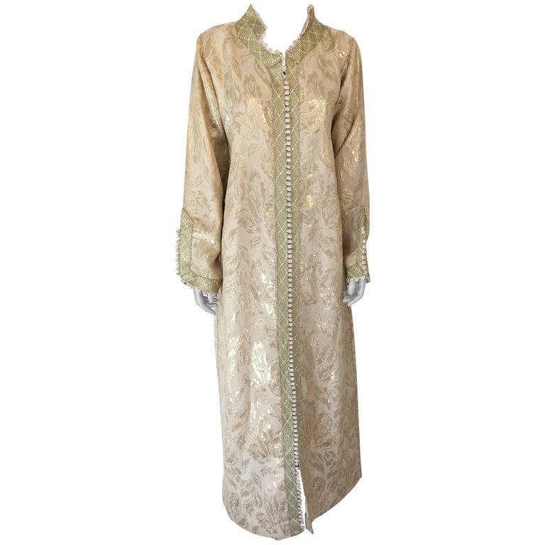 Moroccan Metallic Gold Brocade Kaftan, Maxi Dress Kaftan from Morocco, Africa For Sale