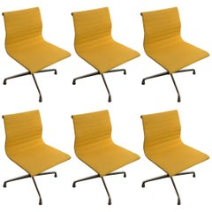 Yellow Ea101 Chairs by Charles & Ray Eames for Vitra, 1968, Set of Six