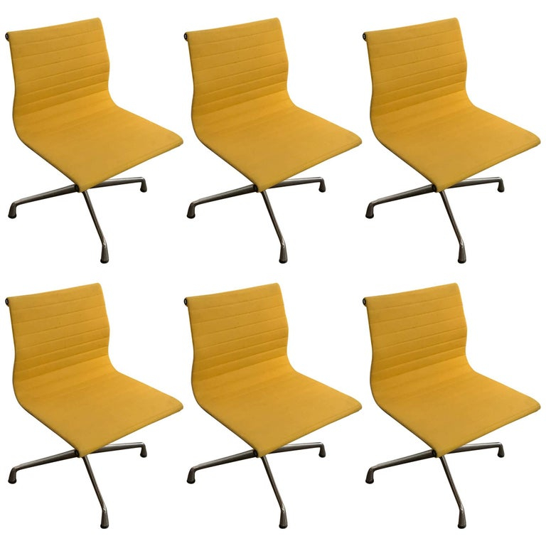 Charles & Ray Eames Yellow Ea101 Chairs for Vitra, 1968, Set of Six