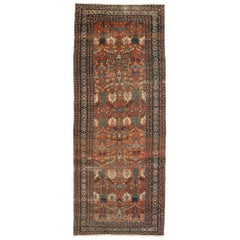 Late 19th Century Antique Persian Bakshaish Gallery Rug, Wide Hallway Runner