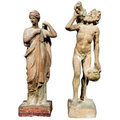 Early 20th Century Pair of Hellenistic Style Tanagra Figures, Continental