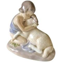 Royal Copenhagen Art Nouveau Figurine Girl with Lamb #2189