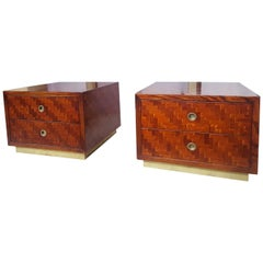 Pair of Banana Wood and Brass Nightstands, 1970 circa, Italy
