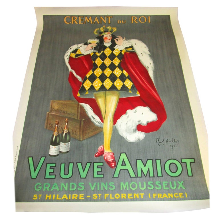 """1920s Art Deco Poster by Cappiello: Veuve Amiot """"King of Sparkling Wines"""""""