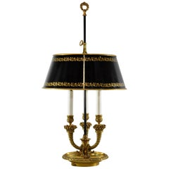 Brass Bouillote Desk Lamp with Black and Gold Tole Shade and Three Sockets