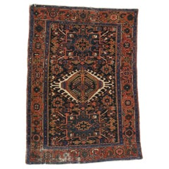 Distressed Antique Persian Karaja Heriz Rug, Study or Office Worn Rug