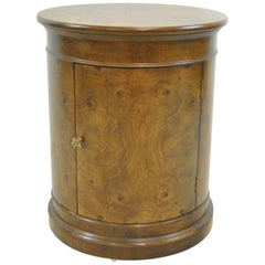 Burled Walnut Round Pedestal Storage Stand or Table by Henredon