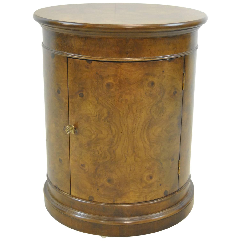 Burled Walnut Round Pedestal Storage Stand Or Table By Henredon