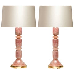 Pair of Modern Rose Rock Crystal Quartz Table Lamps