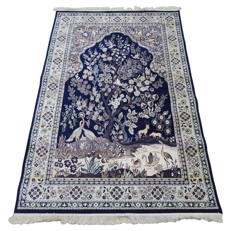 Silk Tapestry Rug from Mid-20th Century