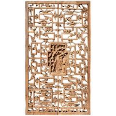 Chinese Antique Screen Panel with Peach and Peony
