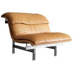 Giovanni Offredi Onda Lounge Chair in Original Leather for Saporiti Italia