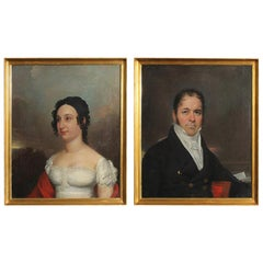 Pair of Oil on Canvas Early 19th Century Portraits of a Man and Woman