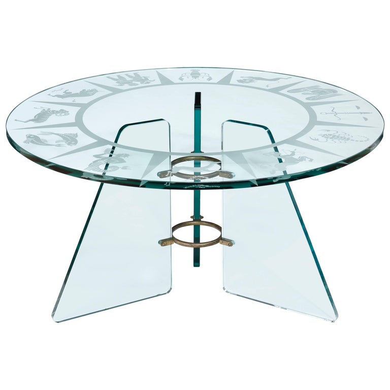 Zodiac Etched Glass Cocktail Table Attributed to Pietro Chiesa For Sale