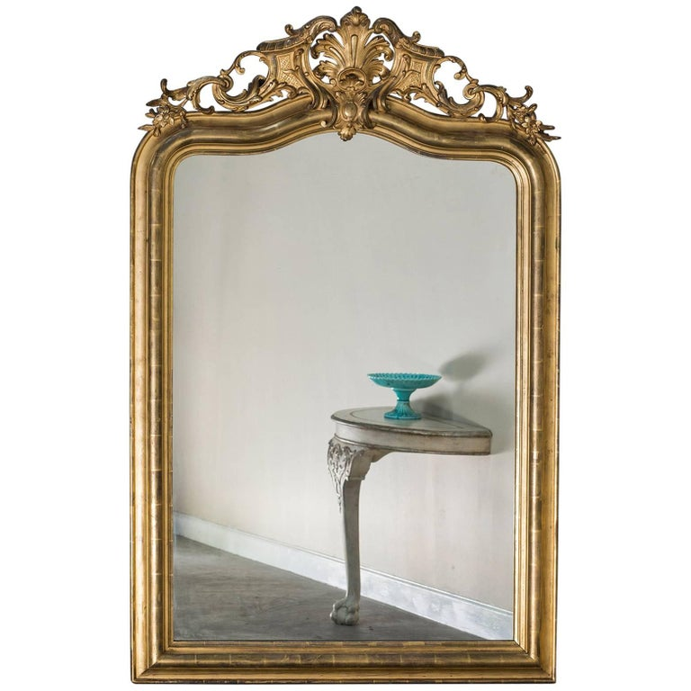 Antique French Louis Philippe Mirror with a Cartouche, circa 1890