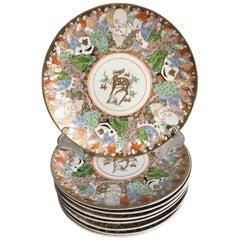 Eight Japanese Imari Decorated Porcelain Plates, Meiji or Taisho Period