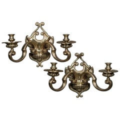 Pair of Antique French Brass Two Arm Sconces Regency Style, circa 1885