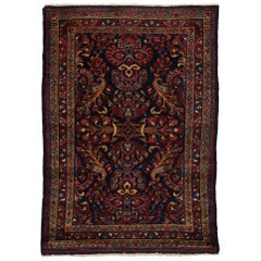 Antique Persian Lillihan Accent Rug with Traditional Floral Motif