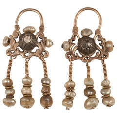 Early 20th Century Gold and Diamond Earrings Tunis, Tunisia