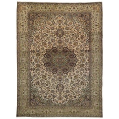 Vintage Persian Kashan Area Rug with Traditional Arabesque Herati Pattern