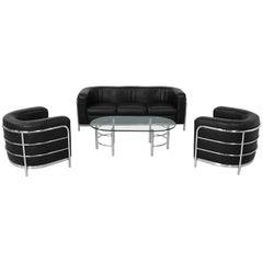 Black Leather Onda Sofa Set Zanotta 3+1+1 and Coffee Table