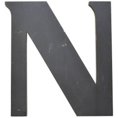 1970s Large Grey Vintage Aluminium Letter N Made in Italy