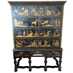 William & Mary Style Large Chest with Chinoiserie Decoration
