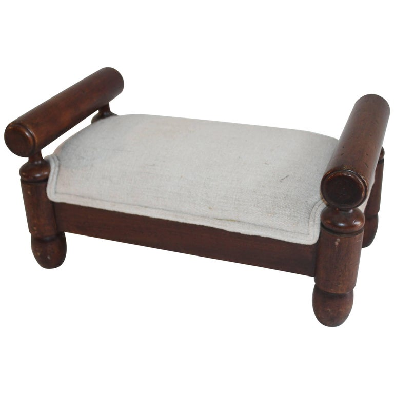 19th Century Handmade Foot Stool with Homespun Upholstery For Sale