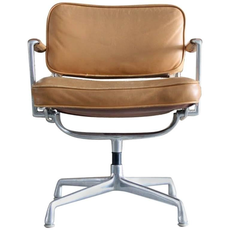 Eames Intermediate Desk Chair In Original Leather 1968 For