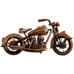 1948 EL Panhead Harley Davidson Large-Scale Carved Wood Model with Display Case