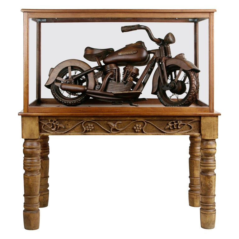 Large-Scale Carved Wood 1948 EL Panhead Harley Davidson with Display Case For Sale