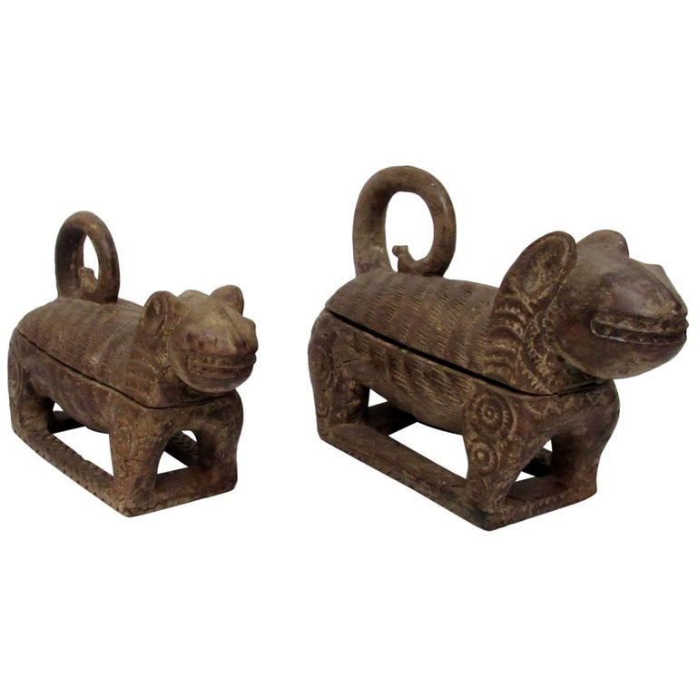 Near Pair of Early 19th Century Hand-Carved Wooden Boxes