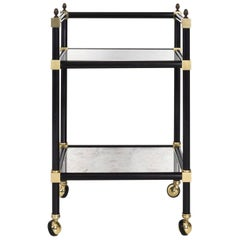 Brass Bar Cart with Mirrored Shelves