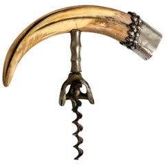 Antique Sterling Silver Mounted Corkscrew with Boar's Tusk Handle, circa 1890