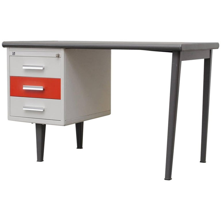 Gispen Industrial Metal Desk For Sale