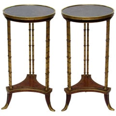 Pair of French Ormolu-Mounted Burr Walnut Gueridons