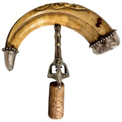 Antique Carved Boar Tusk Corkscrew with Sterling Silver Mounts, circa 1880-1890