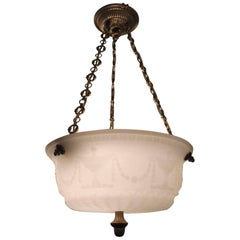 1920s Cast Glass Dish Light with Urn and Swag Motif Brass Canopy and Chain